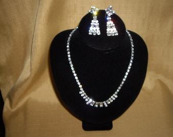 1950'S DIAMANTE Necklace & Earring Set
