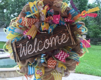 Summer Wreath, Welcome Wreath, Butlap Summer Welcome Door Wreath, Spring Wreath, Burlap Wreath