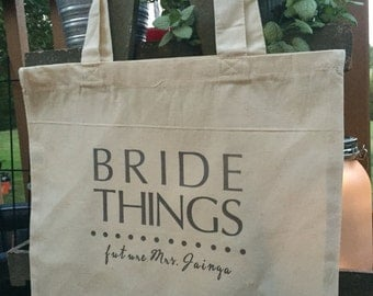 Bride Things- Canvas Tote with custom name