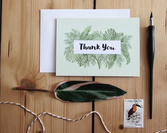 Palm Thank You Card, Tropical Thank You Card