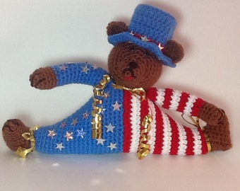 Patriotic Red, White, And Blue Teddy Bear, Patriotic Decor, Patriotic Teddy Bear, Red, White, And Blue Bear, USA Olympics Election