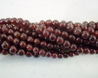 4mm round garnet beads january birthstone