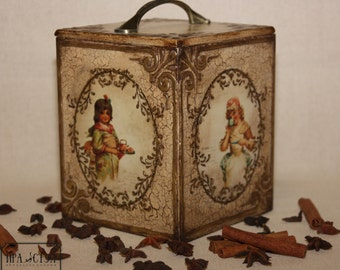 """Box for storage """"Children of different countries"""", a wooden box, decoupage,box kitchen"""