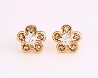 Stud earrings, CZ earrings, golden earrings (143)