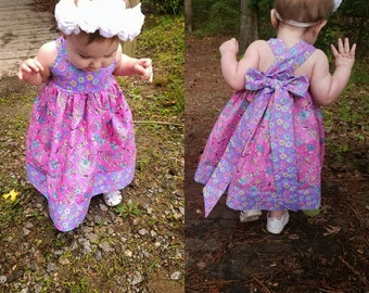 OOAK summer halter dress 6-9 month, sundress, ready to ship, girl's dress, toddler dress, boutique dress, boutique clothing
