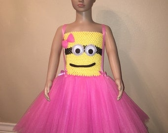 Googly Eyed Minion Inspired Tutu Dress Plus Matching Headband.
