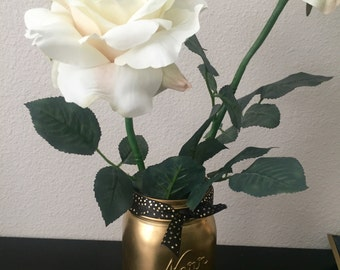 Matte Gold Mason Jar with Fine Gold Glitter