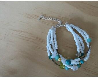 White Beaded Bracelet - 13
