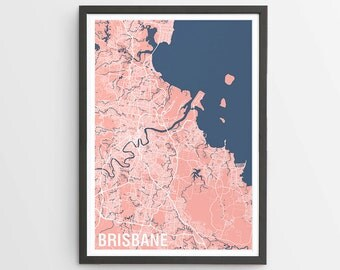 Brisbane Map Print Various Colours - Two-tone / Queensland / Australia / City Print / Australian Maps / Giclee Print / Poster