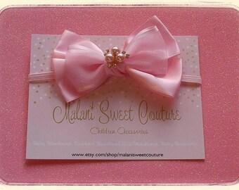 Pink Satin & Sheer Organza Rhinestone Bow Baby Headbands, Baby Pink Toodler-Teenager  Headband Girls headbands- Baby Photo Props