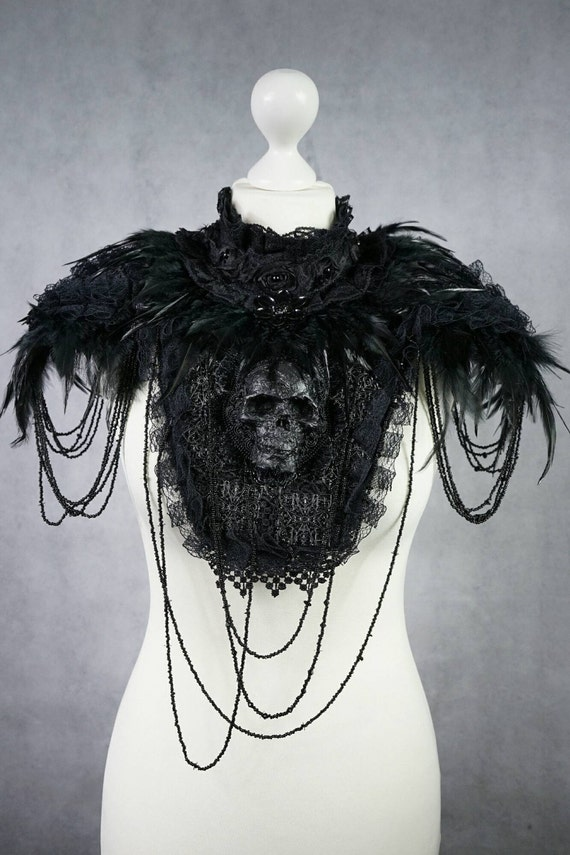 Unique skull collar with feather shoulder pads - skull collar with spring shoulder piece