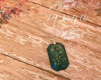 Green Opal Gem Necklace-Foe Opal Necklace-Resin Necklace