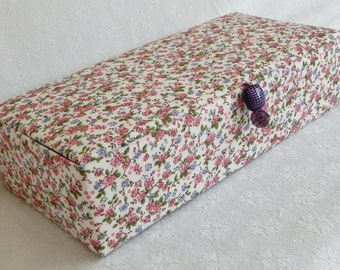 Fabric Covered box, hand stitched and lined box, keepsake box, trinket box, jewellery box or storage box
