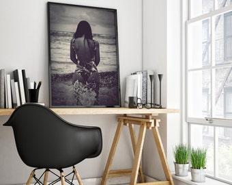 GIRL Beach Art Photography, Black and White, Modern Coastal Photo, Wall Art Decor, Beach Decor, Woman in Ocean Photo 3 Large Sizes