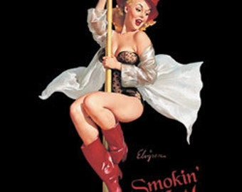 Smokin Hot Firefighter Gil Evgren Pinup  Printed Tee Shirt
