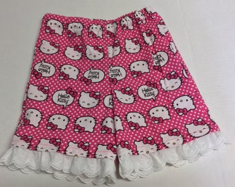 Size  5 Hello Kitty shorts with eyelet trim