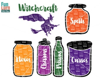Witchcraft SVG, Hexes SVG, Charms, potions, curses, spells, bottle, jar, evil witch, broom, flying, svg, dxf, png, eps , cameo, cricut files