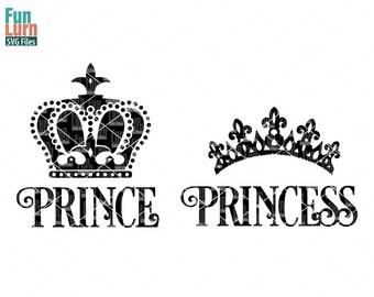 Prince Princess SVG, Prince SVG, Princess SVG , Princess crown, Prince Crown, svg Design, svg png dxf eps for silhouette, cricut machines,