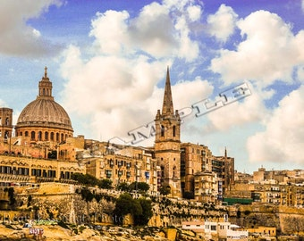 View from Valetta Harbour in Malta, the Dome of the Basilica of Our Lady of Mount Carmel on the skyline