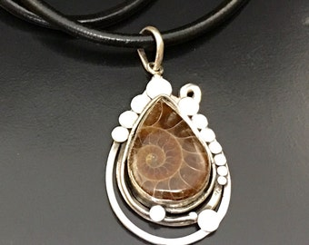 Ammonite fossil calcite during solid silver fossil 925 thousandths silver pendant sterling unique piece