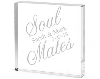 Soul Mates Personalized Square Acrylic Cake Topper (CM4948509)