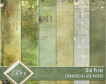 CU Commercial Use Background Papers set of 6 for Digital Scrapbooking or Craft projects OLD PRINT Papers, Designer Stock Papers