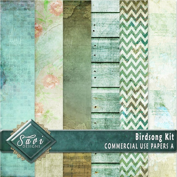 CU Commercial Use Background Papers set of 6 for Digital Scrapbooking or Craft projects Birdsong Set A Designer Stock Papers