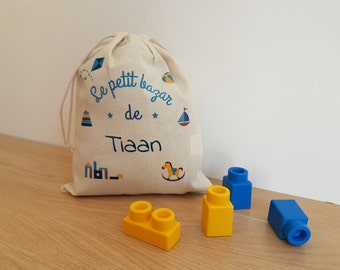 personalised cotton bag: blanket, snack bag, crib etc bag - boy