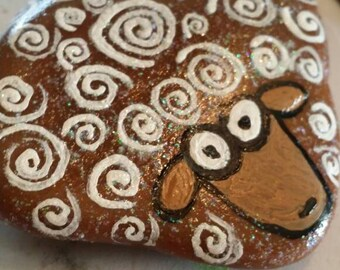 Unique sheep inspired hand-painted one-of-a-kind rock art