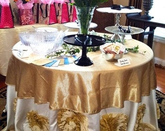 Rosette Tablecloth, Roses Tablecloth, Champagne Wedding Linens,