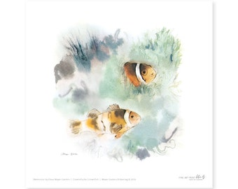 Clownsfish fine art print, watercolor, 8,3 x 8,3 inch, limited edition, painted by Klaus Meyer-Gasters