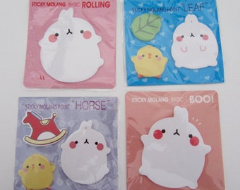 Molang mini sticky notes post it notes cute kawaii podgy potato rabbits