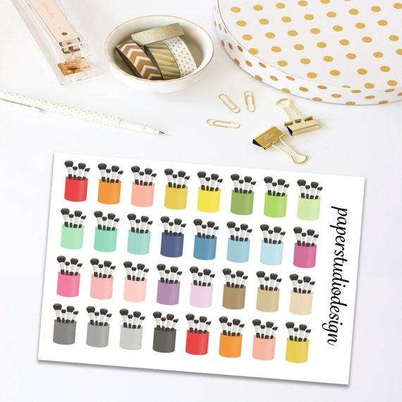 Makeup Brush Stickers, Planner Stickers, Planner Decor, Decorating Stickers, Stickers For Planner, Makeup Planner Stickers