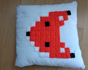 Beautiful black and white pillow with crochet Fox