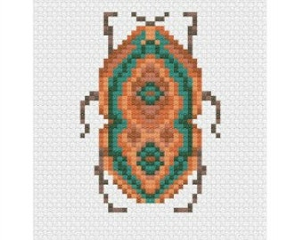 Cross Stitch Beetle, Digital Download, Instant Cross Stitch Pattern, PDF Pattern, Digital Download, Easy Cross Stitch