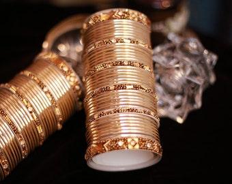 Golden Colored Metallic Bangles - Golden Stallion Royal Collection
