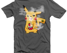 Funny Pokemon T-shirt. Smoke some weed with Pikachu. T-shirts available in Men's and Women's clothing and tank tops. Official tokemon tees