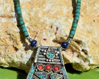 Amazing Turquoise, Coral, Lapis Lazuli, Tribal Necklace