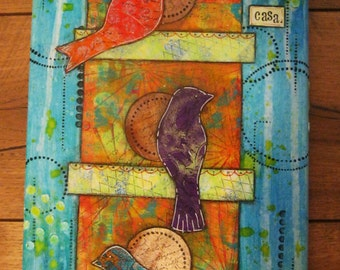 Mixed Media Birds on a Birdhouse