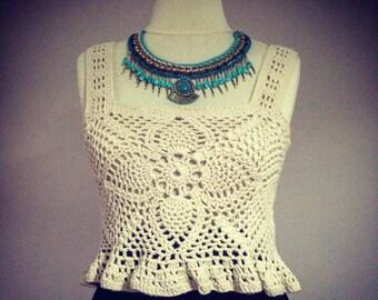 Crochet Crop Top - Pineapple Crop Top