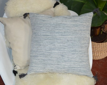 Blue Green beige cushion with PomPoms