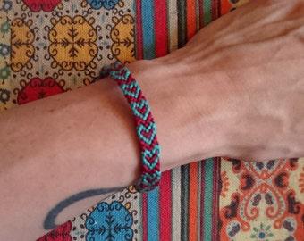Heart Friendship Bracelet with Button Fastening
