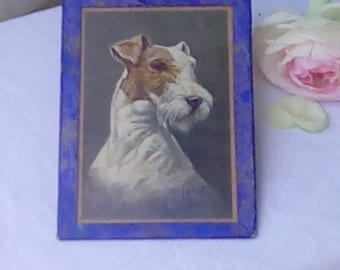 Vintage postcard of a Fox Terrier, by J Rivst or Bivst, framed.