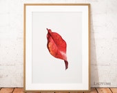 Autumn Leaf Wall Art, Nature Printable Art, Plants Digital Art, Leaf Print, Home Decor, Tropical Leafs, Contemporary Printable