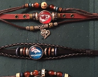 Genuine Leather Snap Bracelets with all NFL teams