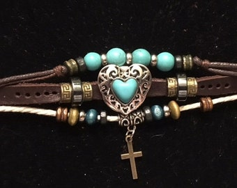 Leather Bracelet with a turquoise snap and a dangling cross fits women and teens