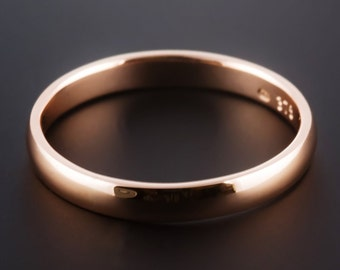 18ct Rose Gold 3mm Wedding Band D Shape Half Round Handcrafted, meiudm weight, Made To Order