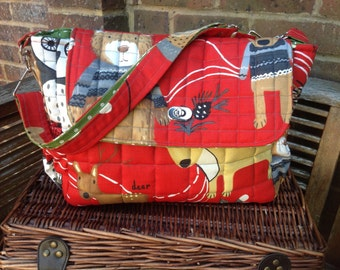 """Handmade baby changing/nappy/diaper bag """"woodland"""" new"""
