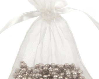 100 Ivory Organza Gift Pouch Wedding Favour Bag Jewellery Pouch- 6 Sizes