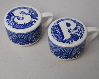 Vintage Royal Cina Blue Willow salt & pepper with original stoppers
